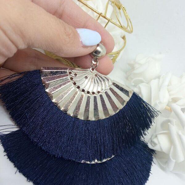 Κρεμαστά σκουλαρίκια με κρόσια μπλε